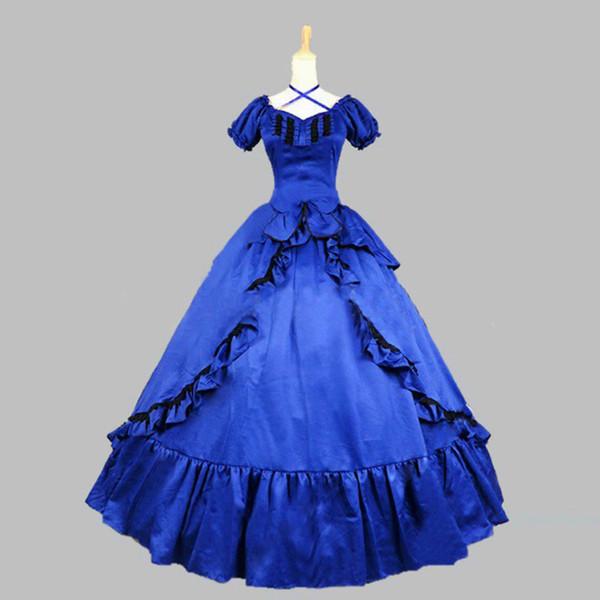 Maniche corte in satin blu di alta qualità con maniche corte in stile vittoriano Steampunk di Halloween in costume da ballo di Belle Arti del Sud per Gril