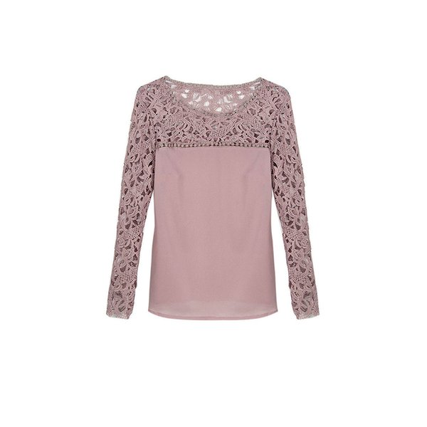 Fashion Cute Women Ladies Loose Casual Cotton Long Sleeve O-Neck Lace Floral Hollow Out Solid Shirt Tops Outfit Spring Fall