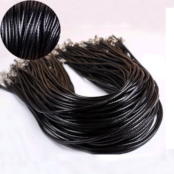 "FAMSHIN 3Pcs 3mm Twisted Braided Rope Black/Brown Leather Cord Chain 20"" Necklace Silver Clasp String Rope For Women"