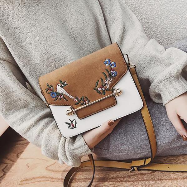 National Embroidery Flower Mini bag Iron bars Cover Magnetic buckle handbag Women pu Girl Handbag Fashion Female Bag
