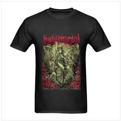 Vintage Tee ShirtsMen's Babymetal Tour Sweden Metal Japanese Band Man T-Shirt Size S To 3XL Black Crew Neck Cotton Short Sleeve