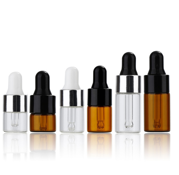 1ml/2ml/3ml 100pcs/lot empty amber clear dropper bottle essential oil bottle mini glass essential oil vial glass bottle