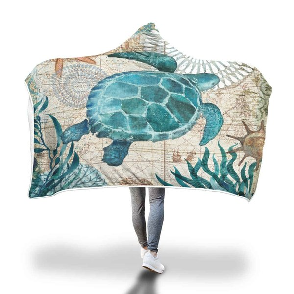 Velvet Plush Warm Sea Turtle Printed Hooded Blanket for Adults Kid Floral Sherpa Throw on Sofa Bed Gothic Microfiber 150x200cm