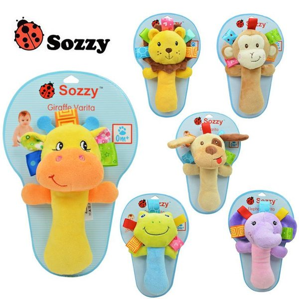 NEW sozzy 0 month + infant Baby Toy rattles Mobiles Bibi sticks Soft Plush Doll Baby Crib Bed Hanging Animal Toy Doll Kids