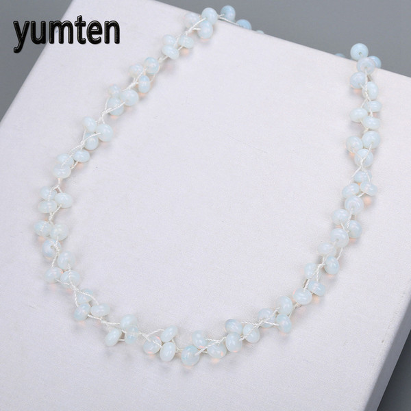 Yumten Opal Necklace Natural Stone White Crystal Ladies Bead Chain Fashion Pop Valentine's Day Women's Jewelry Colgantes Mujer