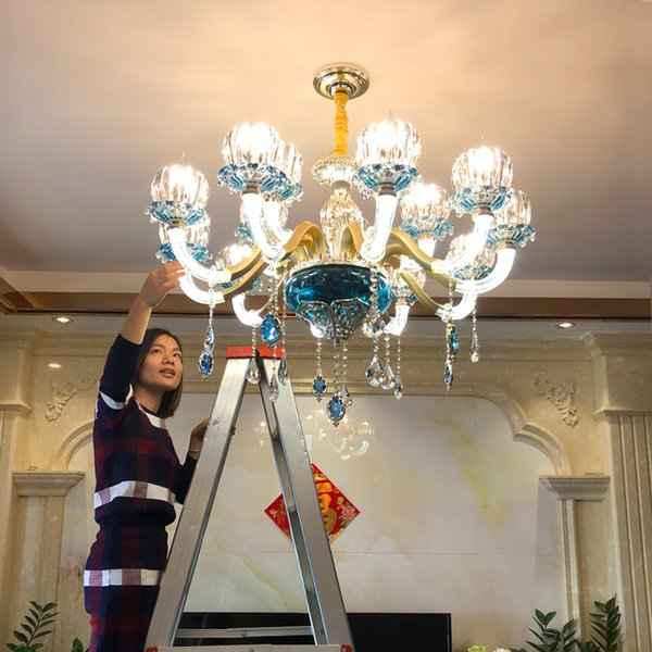 Modern Crystal Chandelier Villa Hotel Boutique Crystal chandelier Living Room Dining Room Pendant Lamp Alloy Blue led Chandelier Lighting