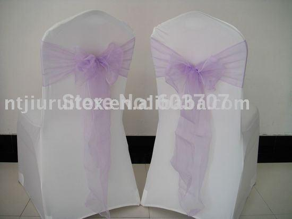 Atacado-Lilás Organza Chair Sash Para Casamento, Festa, Banquete ... Decoração Use