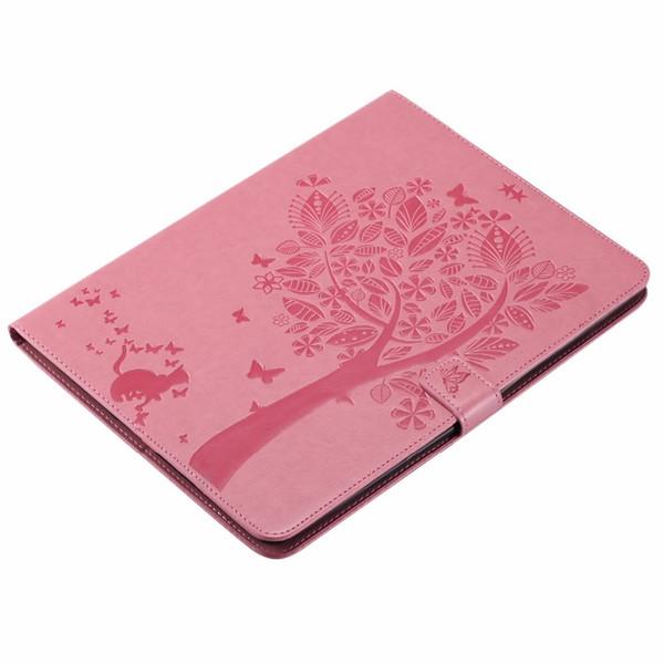 Para iPad 4 3 2 Caso Emboss Cat Under Tree Premium PU Funda Flip Case con funda de cuero para tarjetas Funda para iPad 2 3 4 Coque Capa