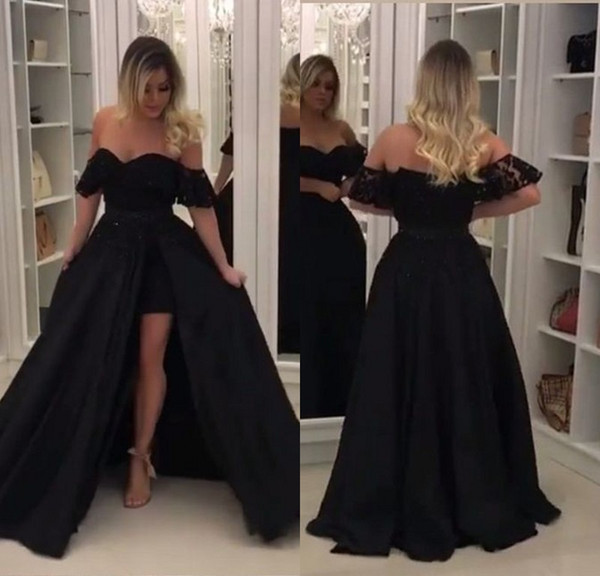 Cheap Black Long Evening Dresses Short Front Long Back Spilit A Line Off Shoulder Lace Evening Gowns Formal Women Party Dress Abendkleider