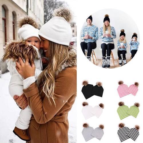 2pcs/set Women Kids Baby Solid Beanie Hat Stripe Faux Fur Ball Soft Cotton Cap Sanwood For Warm Winter Autumn For Adult Kids Set Multi Color
