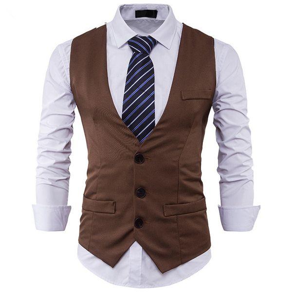 2018 Stylish Men Spring Slim Fit High-End Business Suit Vest Male New Leisure V-neck Party Dress Vest Black Formal Tops M-2XL