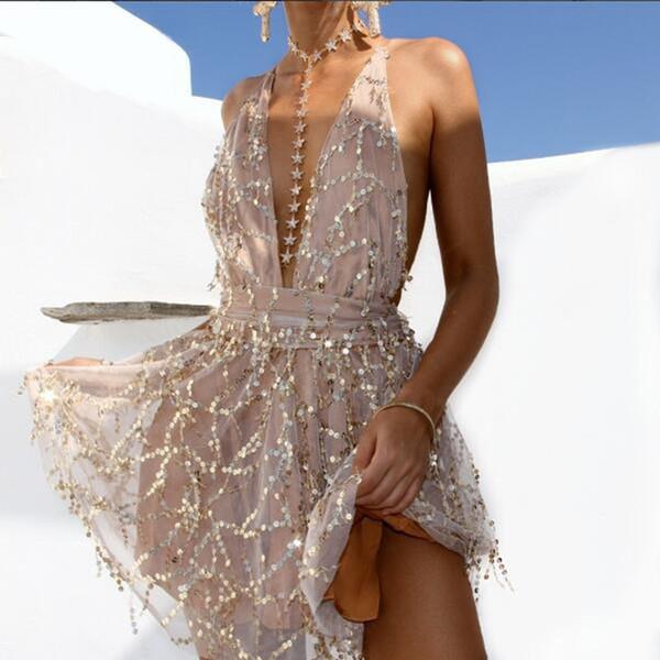 Compre V Cuello Sexy Espagueti Correa Mujeres Vestidos Lentejuelas Sin Respaldo Imperio Vestidos Para Dama Fashion Nightclub Vestidos Cortos A 3659