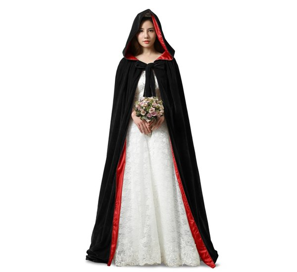 New Black And 10 Colour Lining Velvet Cloak Gothic Vampire Wicca Robe Warm  Outdoor Cape Medieval Larp Cosplay Cape Women Wedding Jackets  1 b9cb9879b