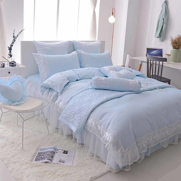 6 piece Luxury Princess Jacquard Lace Ruffle 100/% Cotton Duvet Cover Bedding Set