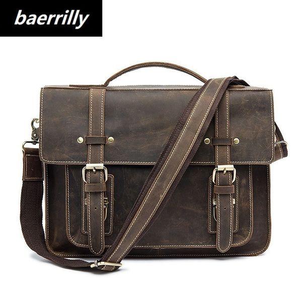Crazy Horse business Briefcases Genuine Leather Men Bag soft handle zipper solid vintage Laptop Bag for Men mens bags Briefcase