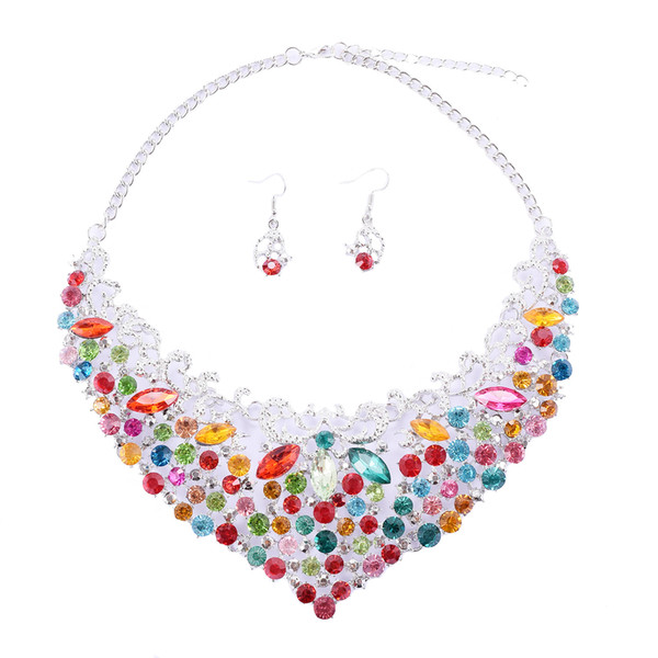 3 Colors Luxury Crystal Pendants Jewelry Set Choker Earrings Studs Wedding Jewelry Sets Mothers Day Gifts Wedding Decorations