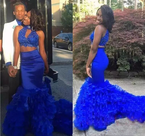 Sexy Mermaid Prom Dress Long Royal Blue Two Pieces Dresses Party Evening Wear High Neck Beads Lace Layered Skirt Plus Size Zipper Back