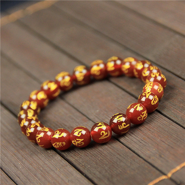Summer Single Circle Red Agate Bracelet 8-14mm Natural Red Agate Gilding Six Word True Words Buddhism Hand String