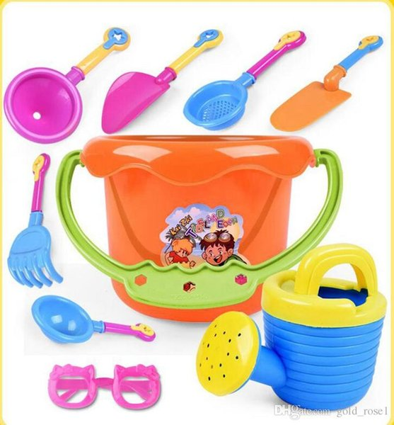 Hotsale 9PCS Baby Playing With Sand Water Beach Bucket Sunglass Toys Set Dredging Tool For Children Baby Kids Sandy Beach Toy OOA4961