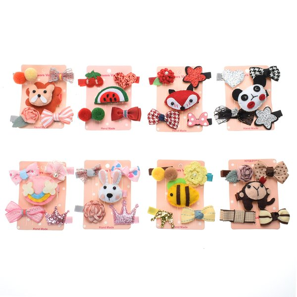 5pcs/set Korean children's hair accessories set cartoon animal hair clips all-inclusive cloth card baby safety clip