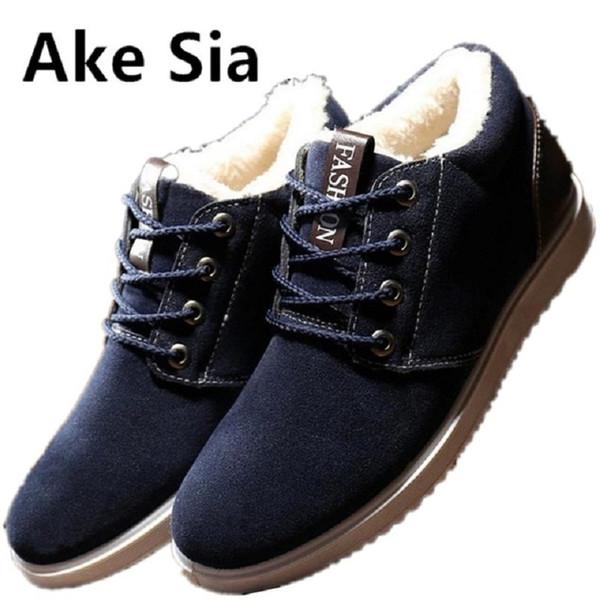 Ake Sia 2017 Winter keep warm Cotton Fabric Fabric fashion fashion shoes men lace shoes thick bottom men casual board