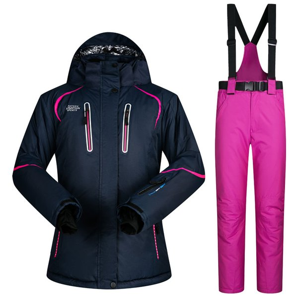Thermal Woman Waterproof Windproof Mountain Cotton Padding Ski Jackets and pants Suit Winter Sports Skiing Clothing Sets