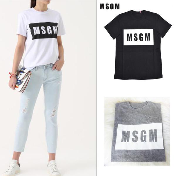4 colores Al por mayor-alta calidad de los hombres / mujeres MSGM camiseta Verano Pareja letra de la marca Tops impresos camiseta de algodón de manga corta O-cuello camiseta