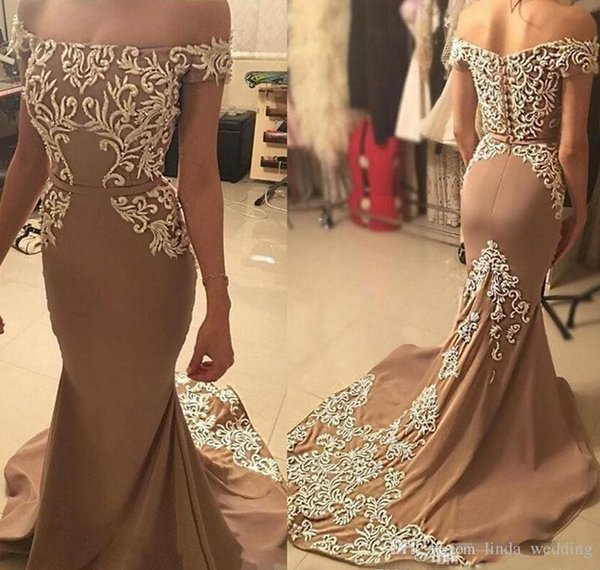 2018 Brown Mermaid Long Prom Dress Pretty Appliques Formal Holidays Wear Graduation Evening Party Gown Custom Made Plus Size