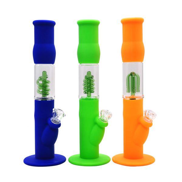 Glass Bong Beaker waterpipe Simple Glass Bong Glass Water Pipes for Smoking silicone Water Bongs bowl quartz banger