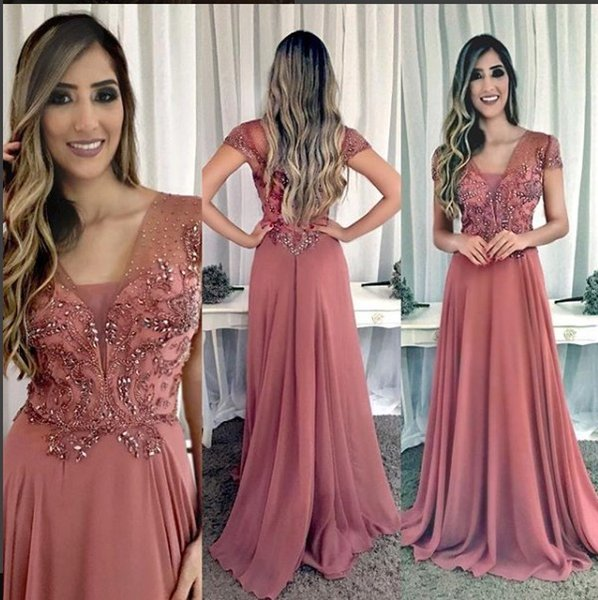Cap Sleeves Beaded Crystals 2018 Evening Dresses A-line Chiffon Cheap Prom Dresses Elegant Formal Bridesmaid Party Gowns