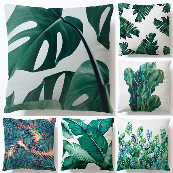 top popular Rainforest Leaves Africa Tropical Plants Hibiscus Flower Throw Linen Pillow Case Chair Sofa Cushion Cover 2019