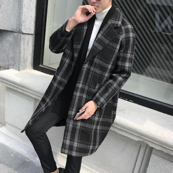 Men's Clothes 2018 New Mens Woolen Coats Slim Fit Long Plaid Trench Coat Male M-4XL Autumn Wool Jackets for Men overcoat