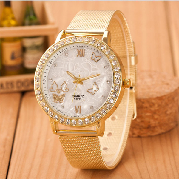 Women Ladies Crystal Watch Gold Stainless Steel Mesh Band Rhinestone Butterfly Mesh Belt Watch Wrist Clock Reloj Mujer #Z