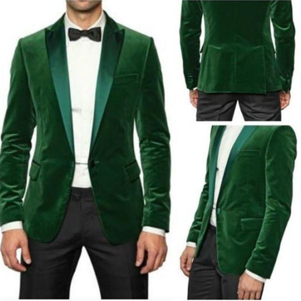 Ternos dos homens na moda de Casamento personalizado verde homens jaqueta de veludo 2017 mais recente casaco calça desenhos melhor homem terno o desgaste do partido noivo S18101903
