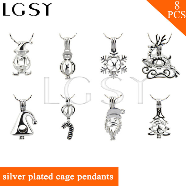 Christmas Theme Mix 8 Different Design 18K Silver Plated Cage Pendants for Women, Pack of 8, New Arrivals & Free Shipping