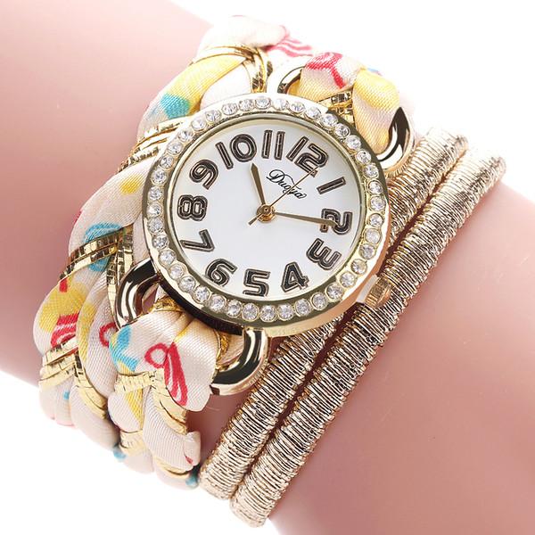 Vintage Colored Flower Fabric Bracelet Watch Women Rhinestone Quartz Wristwatch Bracelet Bangle Ladies Dress Wristband Jewelry