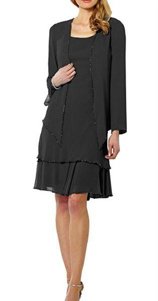 Perline modeste in chiffon corta madre usura formale con giacca manica lunga partito abito da sposa ospite 2018 madre del vestito abito da sposa abiti