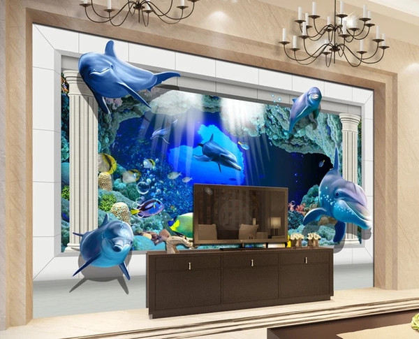 Customized Retail Underwater World 3d Palace Rome Column TV Background Wall Fierce Sea lions From The Sea To Draw Murals