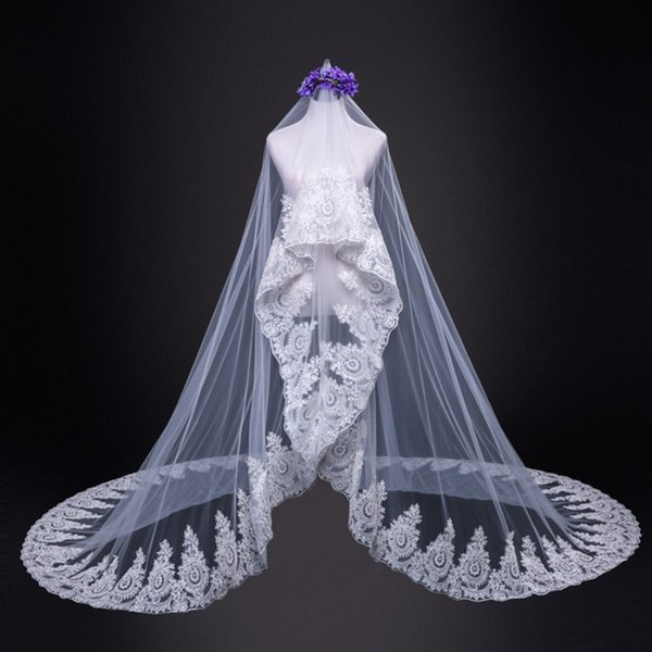 Korean Style Wedding Veils Three and A Half Metres One Layer Pretty Alencon Lace Appliqued Ivory Champagne Soft Tulle Wedding Accessories