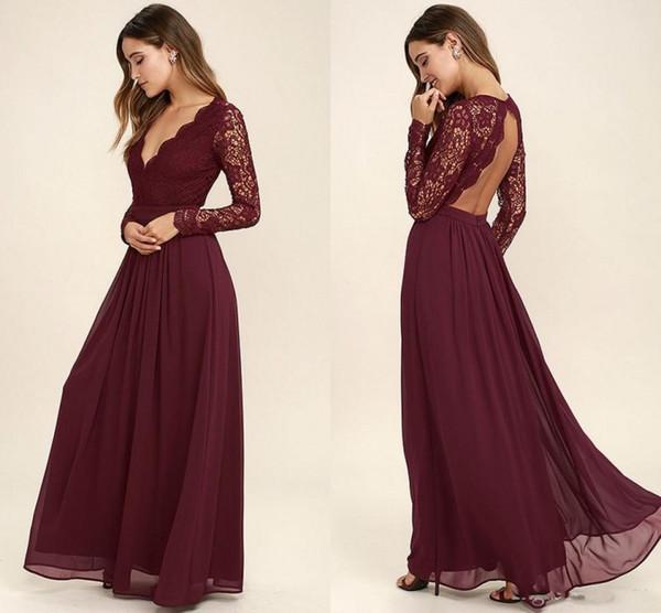 Batı Ülke Tarzı Ucuz Bordo Gelinlik Modelleri Uzun Kollu V Yaka Backless Uzun Plaj Dantel Üst Düğün Elbiseleri Ucuz