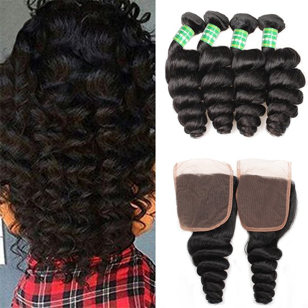 Loose Wave Human Hair 4Bundles With Closure 8A Peruvian Virgin Hair Extension Weft With 4x4 Lace Closure Loose Wave Bundles Remy Hair Weave