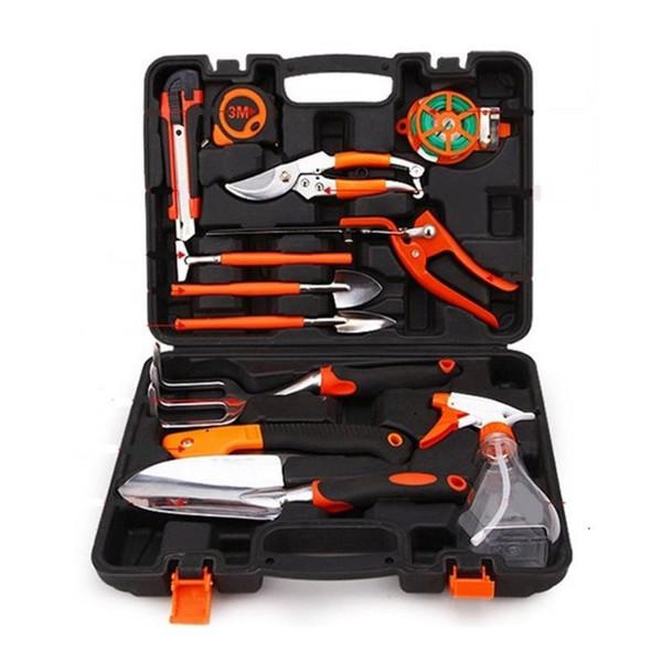 12pcs / set combinaison outils de jardin définit la bande d'acier couteau utilitaire pelle bouteille de pulvérisation cisailles jardinage haute qualité