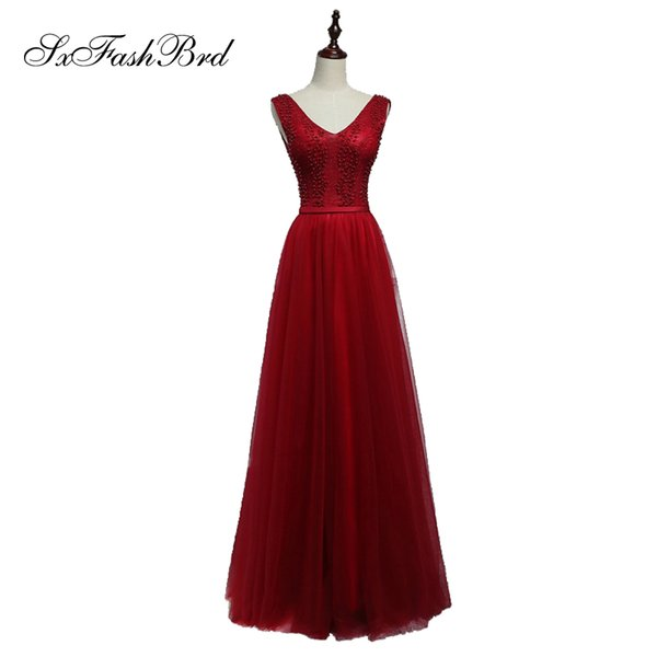 Girls Dress Elegant New V Neck With Beading Open Back Red Tulle Long Party Formal Evening Dresses Women Prom Dress Gowns