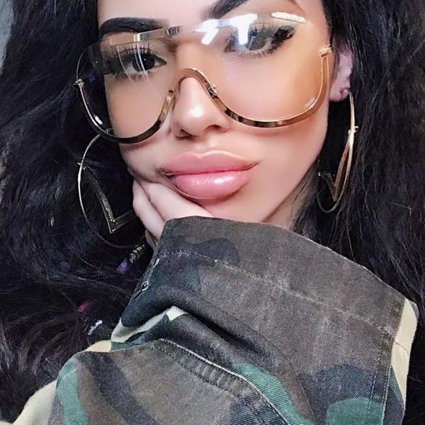 2018 Retro Integrado Mujeres Gafas de Sol de Gran Tamaño de Metal Escudo Medio Gafas de Sol Diseñador de la marca Gradient Lens Eyewear UV400 YW024