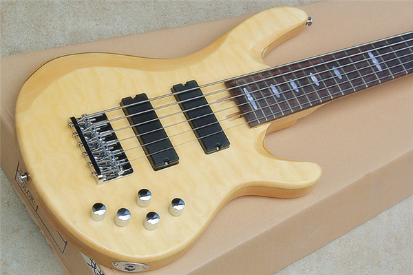 Special 6-string electric bass guitar with active circuit, flame maple veneer, mahogany fingerboard, can be customized. Free postage!