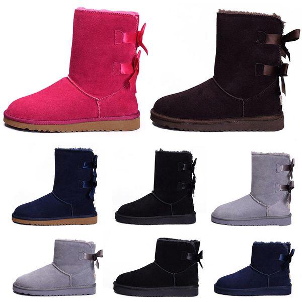 2018 Nuevo WGG Australia clásico para mujer Botas de rodillas Botines Negro Gris castaño azul marino Mujer niña botas Zapatos