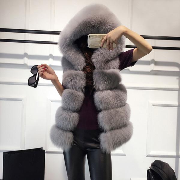 Faux Kürk Kış Kadın Rahat Hoodies Kalın Sıcak İnce Kolsuz Tilki Kürk Yelek Kış Ceket Dış Giyim casaco feminino 6Q2396