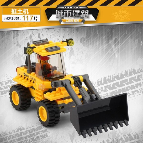 Children's puzzle assembled building block toy heavy crane / engineering forklift / engineering bulldozer