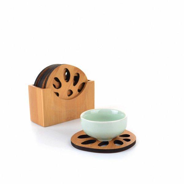 Natural Bamboo Lotus Root Shaped Round Cup Mat Serving Pad Dia.80mm x6 w/ Holder Gongfu Kung fu Tea Tray Serving Table