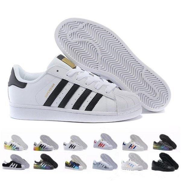 2018 Hot Cheap Superstar 80S Hombres Mujeres Casual l Zapatos Skate Shoes 17 Color Rainbow Splash-ink Fashion Shoes tamaño 36-44